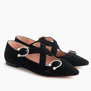 J. Crew Suede Marina cross strap pointed toe flats